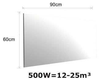 500W Spiegelheizung, Infrarotheizung fürs Bad, IPX4, 90x60cm, für Räume 12-25m³