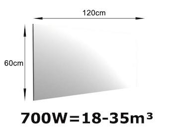 700W Spiegelheizung, Infrarotheizung fürs Bad, IPX4, 120x60cm, für Räume 18-35m³