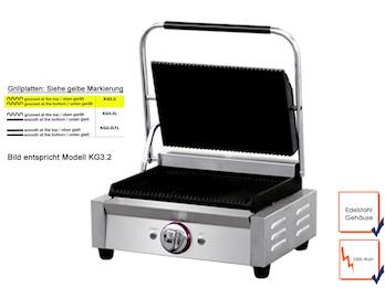 Profi Edelstahl Kontaktgrill, 2200W, Temperatur 50 bis 300 °C, Platten gerillt