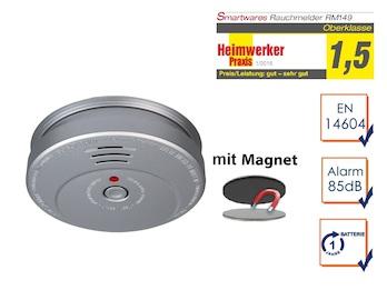 Rauchmelder in Aluminiumoptik - 1 Jahres Batterie mit EASY & CLEAN Magnetmontage