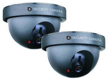 2er-Set Domekamera Attrappe Dummy-Kamera, mit Blink-LED, batteriebetrieben