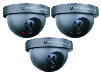3er-Set Domekamera Attrappe Dummy-Kamera, mit Blink-LED, batteriebetrieben