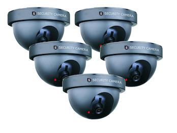 5er-Set Domekamera Attrappe Dummy-Kamera, mit Blink-LED, batteriebetrieben
