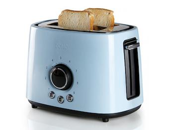 Toaster Edelstahl Hellblau, 1000 Watt, 3 Funktionen, autom. Zentrierung