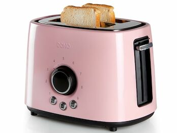 Toaster Edelstahl Pastell rose, 1000 Watt, 3 Funktionen, autom. Zentrierung