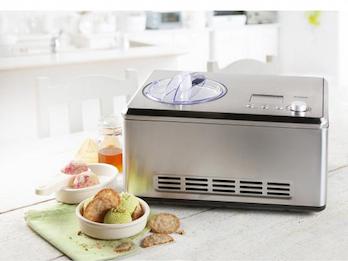 Eismaschine Edelstahl mit Kompressor, 2L Eis in nur einer Stunde, LCD-Display
