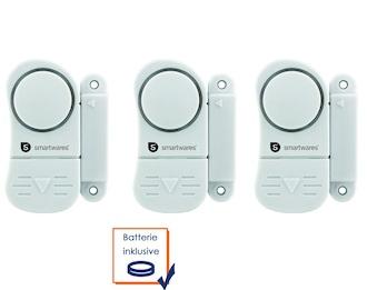 Mini Türalarm und Fensteralarm im 3-er Pack 85dB, Einbruchschutz