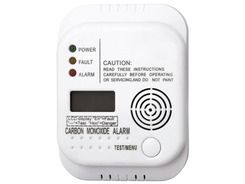 Kohlenmonoxid Melder mit Display und Temperaturanzeige, Prüftaste