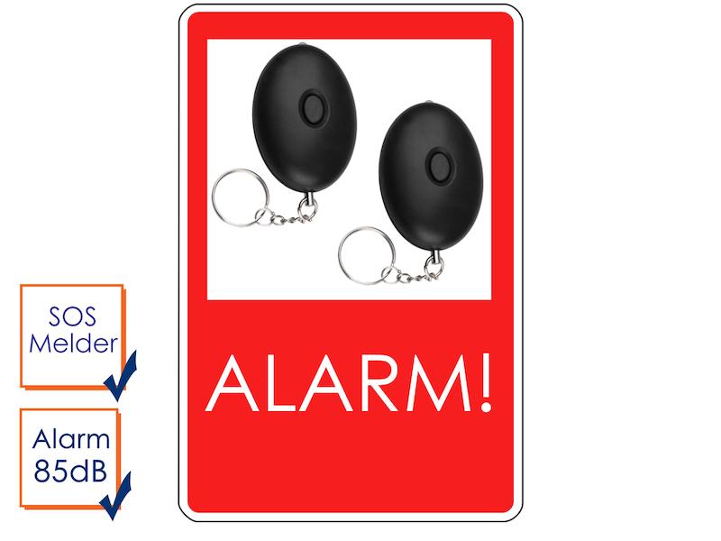 2er-Set Mini-Taschenalarm Überfallalarm SOS-Notruf Personen-Alarm 85dB