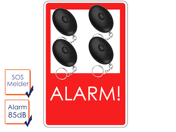 4er-Set Mini-Taschenalarm Überfallalarm SOS-Notruf Personen-Alarm 85dB