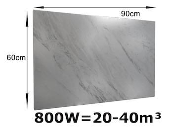 800W Infrarotheizung Marmor weiß, 90x60 cm, für Räume 20-40m³, IP44