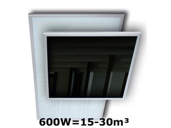600W Infrarot-Glaspaneel schwarz m. Alu-Rahmen, 120x60cm, für Räume 15-30m³