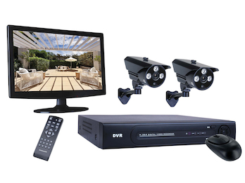 4-Kanal Überwachungssystem, 2 Kameras, Monitor, Appsteuerung