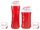 2er-Set Ersatzflaschen für Smoothie-Maker DO434BL, 300 + 600ml, rot