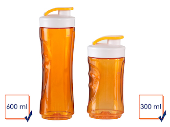2er-Set Ersatzflaschen für Smoothie-Maker DO435BL, 300 + 600ml, orange