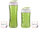 2er-Set Ersatzflaschen für Smoothie-Maker DO436BL, 300 + 600ml, grün
