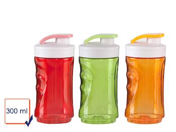 3er-Set Ersatzflaschen für Smoothie-Maker, 300ml, rot-orange-grün
