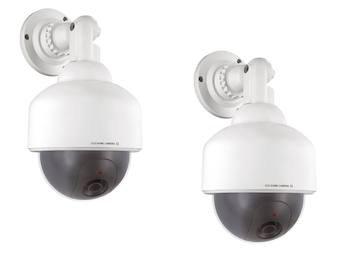 2er Set Kamera Attrappen / Dummy Dome Cameras mit blinkender LED-Anzeige