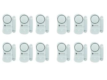 12er-Set Mini Türalarm und Fensteralarm 85dB, Einbruchschutz