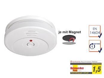 Rauchmelder mit TÜV Zertifizierung - 1 Jahres Batterie - mit EASY Magnetmontage
