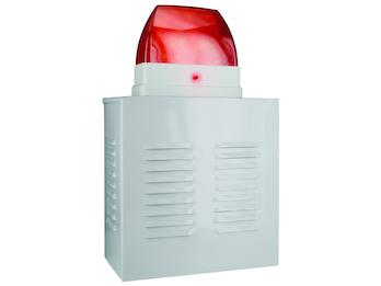 Dummy Alarmanlagen-Fassadenbox aus Aluminium mit Blink-LED, batteriebetrieben