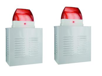2er-Set Dummy Alarmanlagen-Fassadenboxen aus Aluminium mit Blink-LED