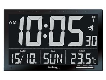 Digitale Funkuhr mit Jumbo-LCD, Innentemperatur, Datums- und Wochentagsanzeige
