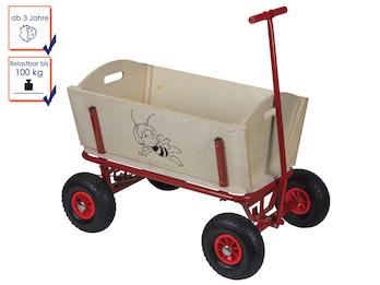 Bollerwagen -DIE BIENE MAJA- für Kinder, Holz, Tragfähigkeit bis 100 Kg