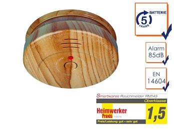 Rauchmelder in Holzoptik mit austauschbarer 5 Jahres Batterie