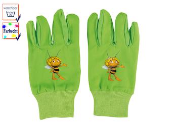 Kinder Gartenhandschuhe -DIE BIENE MAJA-, 4 bis 7 Jahre, Farbe Grün