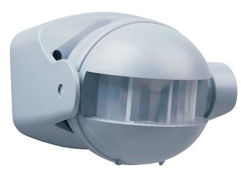 Bewegungsmelder 12m/180° Alu-Optik, einstellbar Zeitintervall, IP44