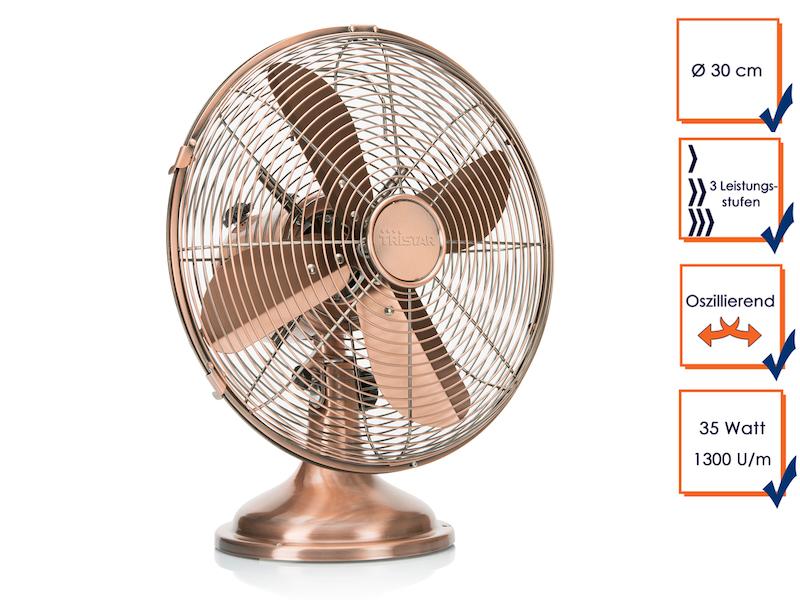 tristar retro ventilator kupfer 1300u min. Black Bedroom Furniture Sets. Home Design Ideas