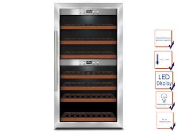 Profi Weinkühlschrank, für 66 Flaschen, 5-22° C , 2 getrennte Temperaturzonen