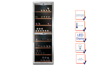 Profi Weinkühlschrank, 180 Flaschen, 5-22° C , 2 getrennte Temperaturzonen