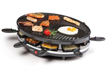 Raclette für 8 Personen, 1200W, Doppelheizelement, große Bratplatte