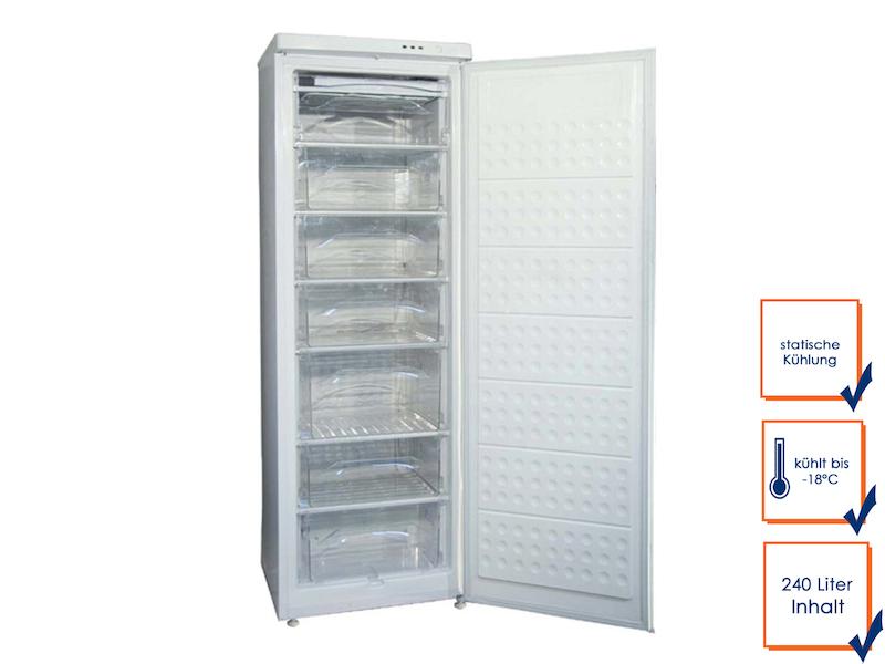 Profi Gefrierschrank, 240 Liter, statische Kühlung, bis -18° C, Schnellfrosten