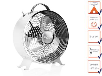 Retro Ventilator in Weiß, 2 Leistungsstufen, 1800 U/min, Ø 25 cm, mit Tragegriff