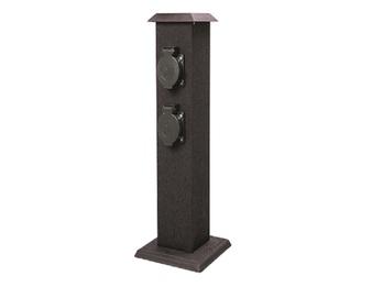 Gartensteckdosensäule, 4 Schutzkontaktsteckdosen, Metallgehäuse, IP44, 3580W