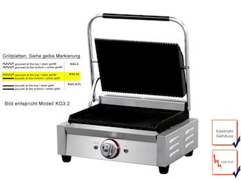 Profi Edelstahl Kontaktgrill, 2200W, Temperatur 50 bis 300 °C, Gusseisenplatten