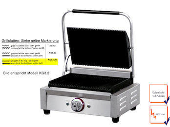 Profi Edelstahl Kontaktgrill, 2200W, Temperatur 50 bis 300 °C, Platten glatt