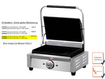 Profi Edelstahl Kontaktgrill, 2800W, Temperatur 50 bis 300 °C, Gussplatten glatt