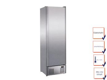 Profi Edelstahl Kühlschrank, 386 Liter, statische Kühlung, 0° C/ 10° C, 5 Roste