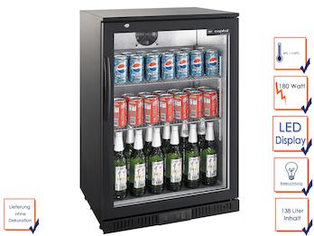 Profi Getränkekühlschrank, 138 Liter, 0° C/ +10° C, Umluftkühlung, abschließbar
