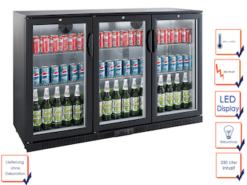Profi Getränkekühlschrank, 330 Liter, 0° C/ +10° C, Umluftkühlung, abschließbar