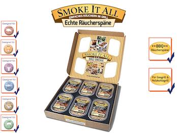 BBQ Räucherspäne Räuchermischung mit Gewürzen - 6er Geschenk-Set