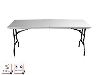 Robuster und stabiler Gartentisch aus Kunststoff mit Stahlgestell