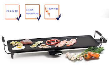 Teppanyaki Grill Tischgrill Grillplatte XL, Antihaftbeschichtung 1800 Watt