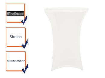 Hochwertige und pflegeleichte Stehtischhusse in weiß, Stretch - Tischhusse