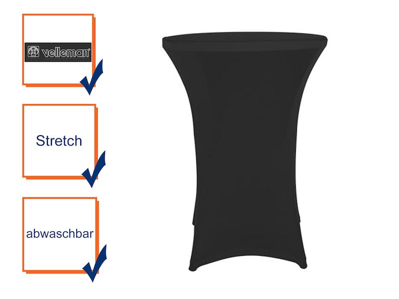 Hochwertige und pflegeleichte Stehtischhusse in schwarz - Tischhusse