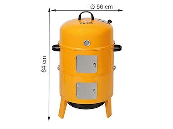 3-in-1 Räucherofen, Holzkohlegrill und Smoker, mit Thermostat orange